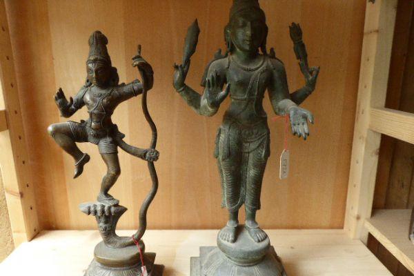 Krishna und Kumara - südindische Bronze