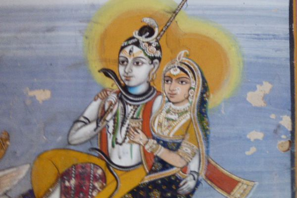 Shiva Parvati - Miniatur Rajasthan