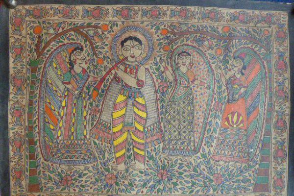 Krishna und Radha Madhubani Malerei - Asiatica Foth