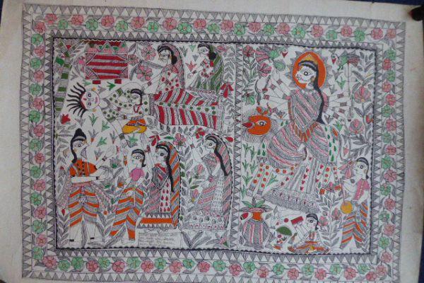 Durga Madhubani Malerei - Asiatica Foth