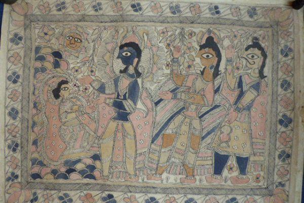 Rama und Sita Madhubani Malerei - Asiatica Foth